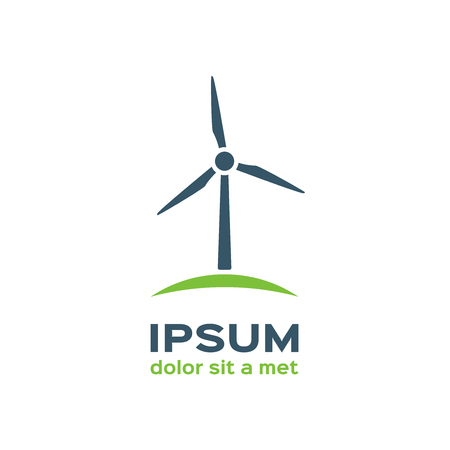 Wind turbine silhouette, logotype Ilustração