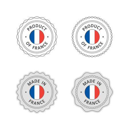 french flag: Set of Made in France labels with French flag Illustration