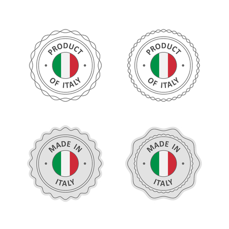 """Set of """"Made in Italy"""" labels with Italian flag"""