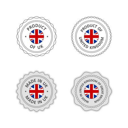 import trade: Set of Made in United Kingdom labels with UK flag Illustration
