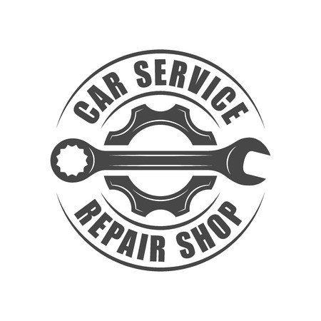 spare part: Auto service , wrench and gear silhouette