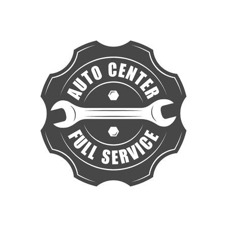 auto service: Auto service , wrench and gear silhouette