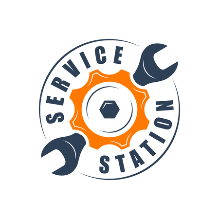 Auto service , wrench and gear silhouette
