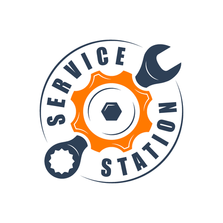 auto service: Auto service , wrench and gear silhouette