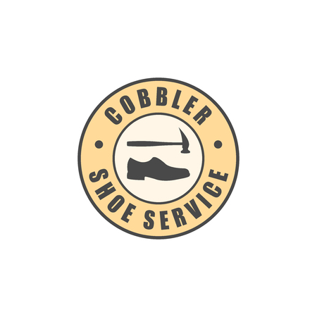 cobbler: Shoe service logotype, shoe and hammer silhouettes