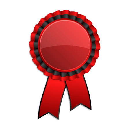 hallmark: Red and black award rosette with ribbon Illustration
