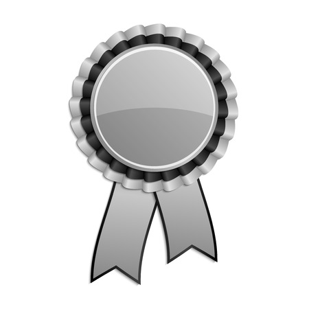qualify: Silver grey and black award rosette with ribbon