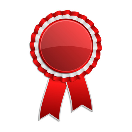 hallmark: Red award rosette with ribbon