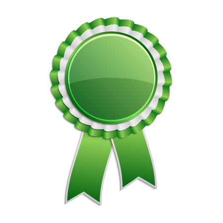 qualify: Green award rosette with ribbon Illustration