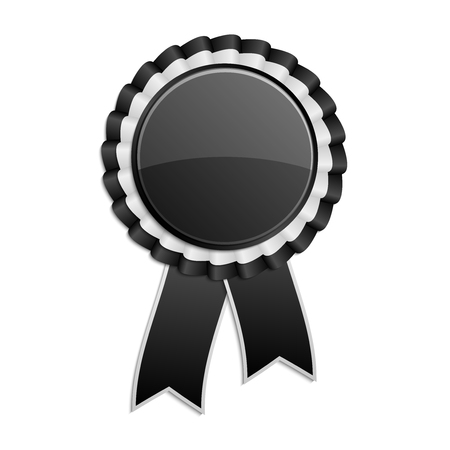 rosette: Black and grey award rosette with ribbon