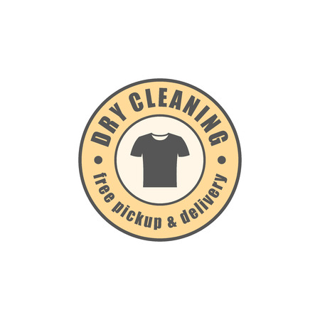 drycleaning: Dry cleaning round logotype, t-shirt silhouette