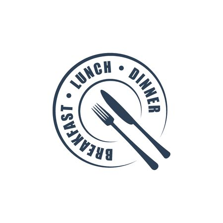 dinner plate: Restaurant round logotype with fork & knife silhouettes