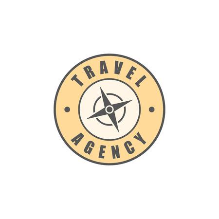 wind rose: Travel agency round logo, wind rose silhouette Illustration