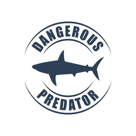 dangerous: Round , shark silhouette, dangerous predator sign