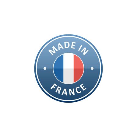 french label: Round Made in France label with French flag