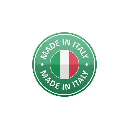 made in italy: Round Made in Italy label with Italian flag Illustration