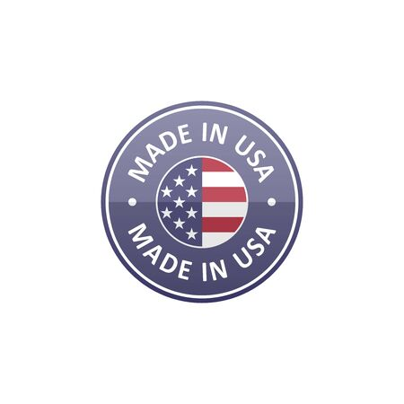 Round Made in USA label with USA flag