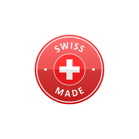 swiss flag: Round Swiss made label with Swiss flag