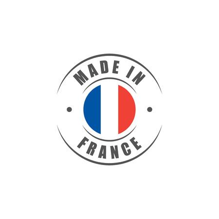"""Rotonda """"Made in France"""" etichetta con bandiera francese Vettoriali"""