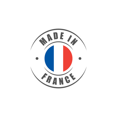 "Round ""Made in France"" label with French flag"