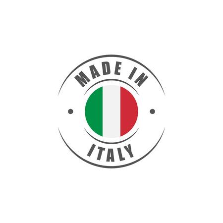 """Round """"Made in Italy"""" label met de Italiaanse vlag Vector Illustratie"""