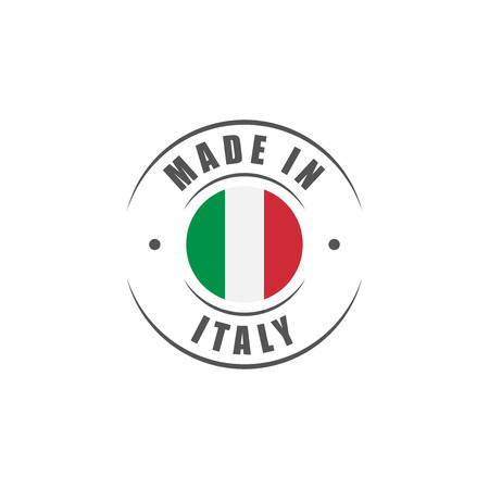 "Round ""Made in Italy"" label with Italian flag"