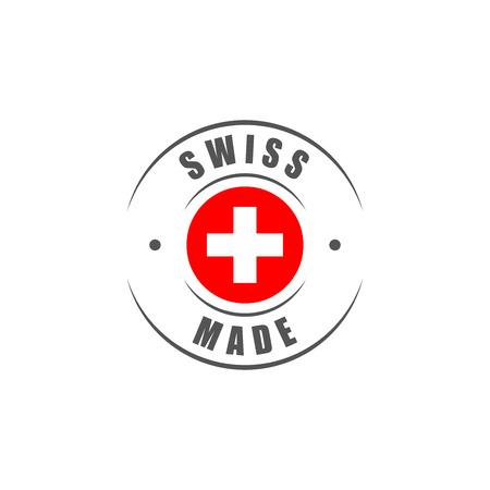 """Round """"Swiss made"""" label met Zwitserse vlag Stock Illustratie"""