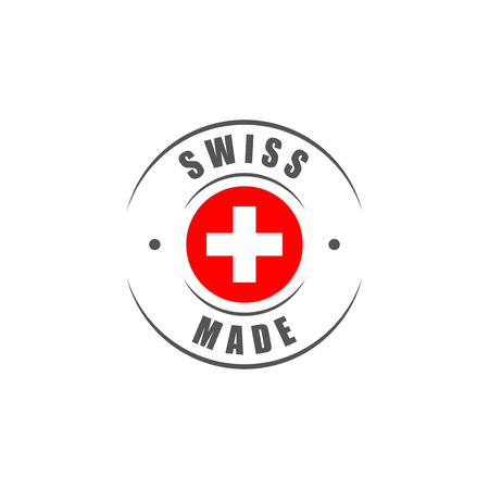 Round Swiss made label with Swiss flag