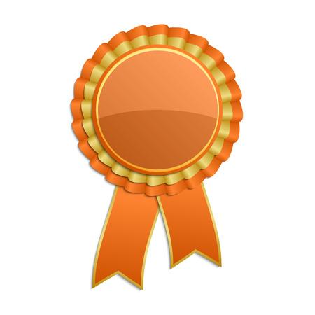 Oranje met gouden award rozet met lint Stock Illustratie