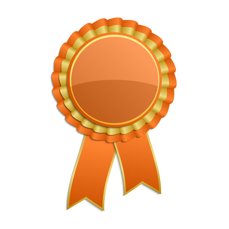 Orange with gold award rosette with ribbon