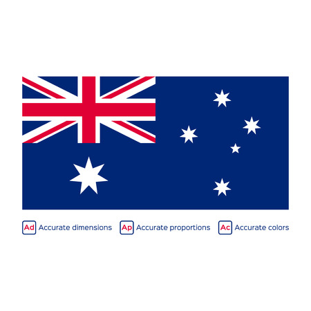carefully: Flag of Australia,  carefully made using official proportions,  dimensions and colors Illustration