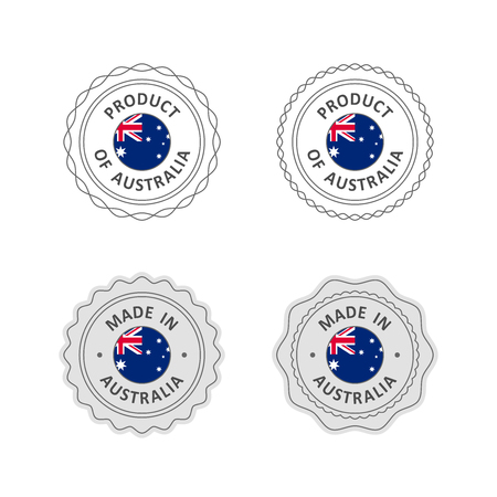 Set of Made in Australia labels with Australian flag