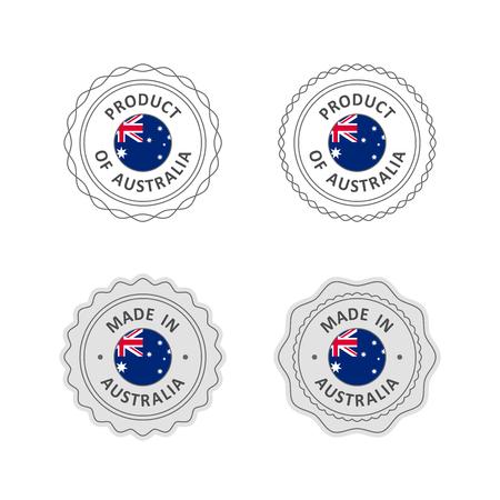 """Set van """"Made in Australië"""" etiketten met Australische vlag"""