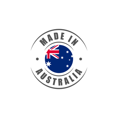 Round Made in Australia label with Australian flag