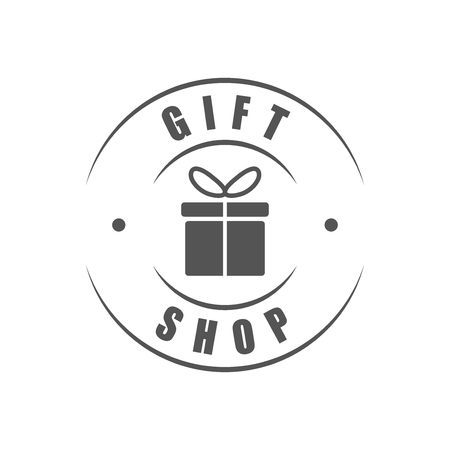 Gift shop round logo, gift box silhouette Illustration