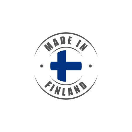 finnish: Round Made in Finland label with Finnish flag
