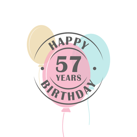57: Happy birthday 57 years round logo with festive balloons, greeting card template