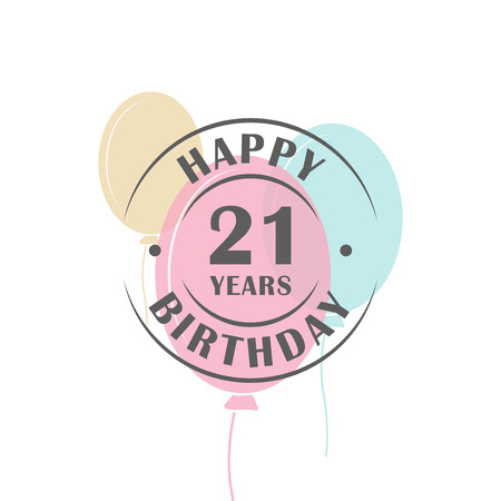 Happy birthday 21 years round logo with festive balloons, greeting card template