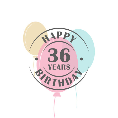 Happy birthday 36 years round logo with festive balloons, greeting card template Ilustração