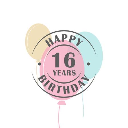Alles Gute Zum Geburtstag 14 Jahre Logo Mit Festlichen Ballons