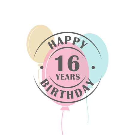 16 years: Happy birthday 16 years round logo with festive balloons, greeting card template