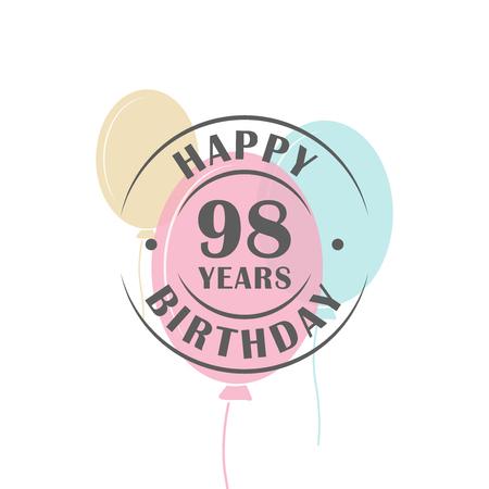 98 歳の誕生日のお祝いバルーン、グリーティング カード テンプレートとロゴ ラウンド幸せ