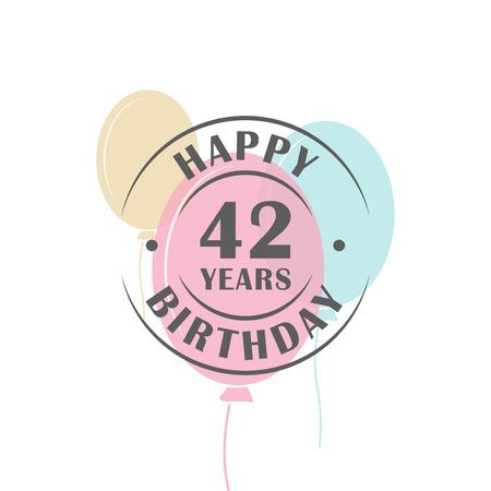 축제 풍선, 인사말 카드 템플릿으로 생일 축하 42 년 로고