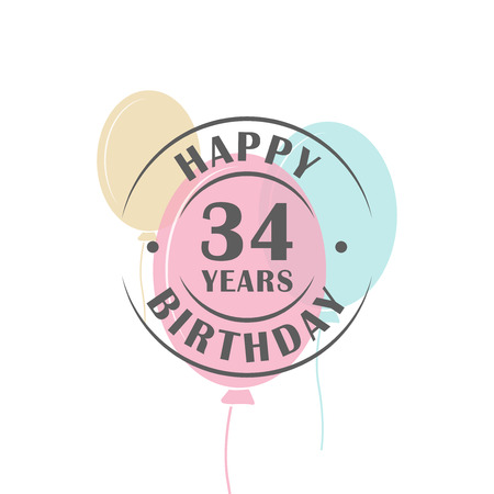 34: Happy birthday 34 years round logo with festive balloons, greeting card template Illustration