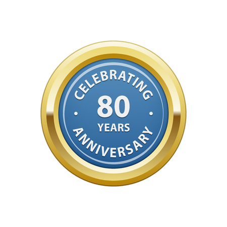 80 years: Celebrating anniversary 80 years badge Illustration