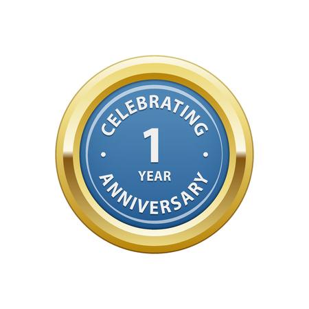 1 year: Celebrating anniversary 1 year badge Illustration