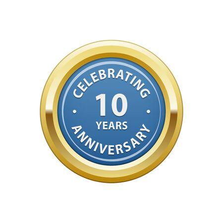 10 years: Celebrating anniversary 10 years badge Illustration