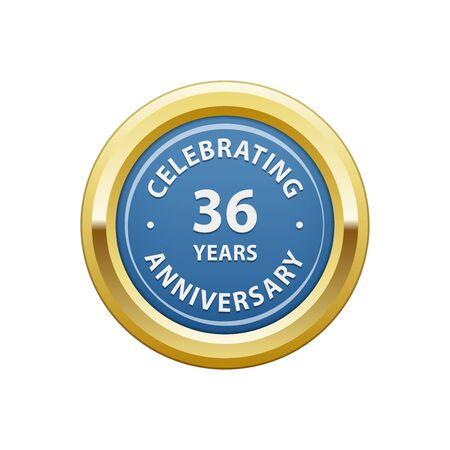36: Celebrating anniversary 36 years badge Illustration