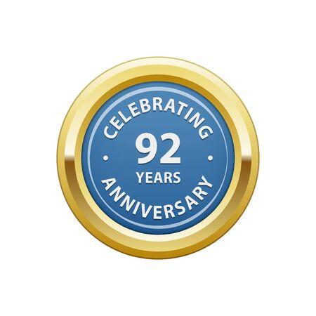 92: Celebrating anniversary 92 years badge Illustration