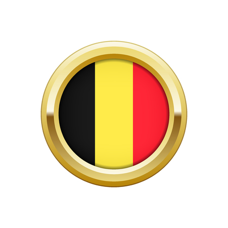 made in belgium: Round gold badge with Belgian flag Illustration